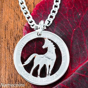 Horse Jewelry, Equestrian necklace, hand cut coin by Namecoins