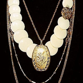 Big Bold Gold Pendant 3 Chains & White Lucite Circle Necklace Layerd High Fashiion Vintage