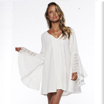 Flare Sleeve Bottoming lace Dress Women Summer Dress Sexy Party vintage boho dresses