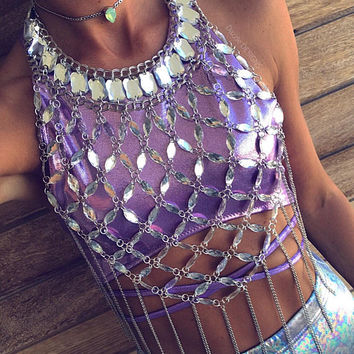 Silver Chain Clear Crystal Mesh  Body Chain Harness Festival Burning Man Rave Wear