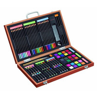 82 Piece Studio Art & Craft Supplies Set in Wood Box -Great Gift for Drawing and Painting