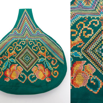 70s Boho Green Embroidered Purse w/ Ethnic Floral Geometric Psychedelic Embroidery | Summer Hippie Handbag Wrist Clutch Purse | Bohemian Bag