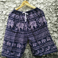Large Unisex shorts Boho Hippie with elephants printed Beach Summer Clothing Aztec Ethnic Styles Hipster Unique men fashion Handmade Black