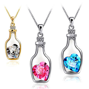 Luxury Jewelry Silver Plated with Wish Bottle Inlay Love Heart Crystals Vial Pendant Necklace for Women Gift