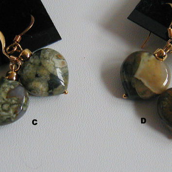 Natural Rustic Green Rhyolite Gemstone Heart Earrings   ~GemstoneEarrings ~Gemstone Heart Earrings~Rhyolite Earrings~Chunky Rustic Earrings