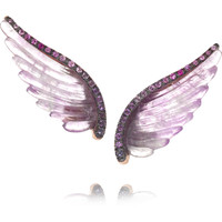 Noor Fares - Wing 18-karat gray gold, amethyst and sapphire earrings