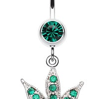 Marijuana Leaf Sparkle Belly Button Ring