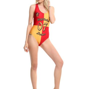 Licensed cool Harry Potter Gryffindor Quidditch 07 One Piece Ladies Swimsuit Swim Suit M NEW