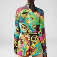 """""""VERSACE"""" Woman's Leisure Fashion Letter Personality Printing Long Sleeve Shorts  Two-Piece Set Casual Wear"""