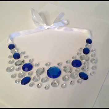 Floating Illusion Bib Statement Necklace ~ BLUE MOON ~ Royal Blue & Clear Rhinestones on White Tulle with Ribbon Tie ~ Blue Jeweled Necklace