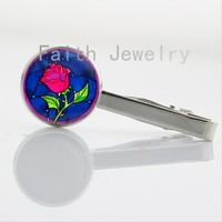 Romant case for Beauty and the Beast tie clip charming flower Rose beautiful girl collar clasp pin wedding jewelry gifts NS222