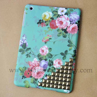 iPad mini Case, iPad mini Cover, Vintage Style Green Flower case studs,mini ipad case,case for mini ipad