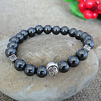 Mens Beaded Bracelet Yin Yang Bracelet Men Jewelery Hematite Bracelet Stone Bracelet Mens gift Bracelet for men