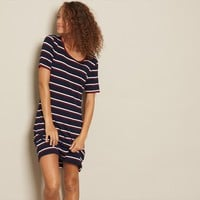 Stripe Semi-Fitted T-Shirt Dress