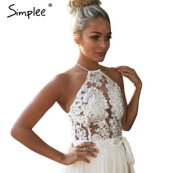 Simplee Elegant white lace crop top Summer beach backless short halter tops Sexy white party camis gauze metallic women tank top