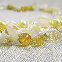 Yellow Necklace Multi Strand Pearl Crochet Citrine Honey Glass Lemon Sunny Bohemian Jewelry