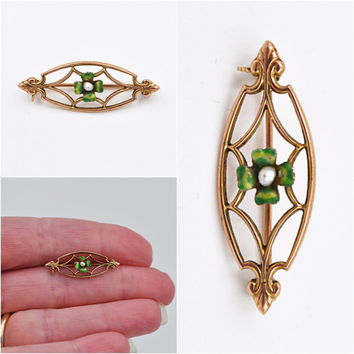 ON SALE Antique 10K Gold Art Nouveau Bar Pin Brooch, Four Leaf Clover, Green Enamel, Shamrock, Baroque Pearl, Lovely!  #b323