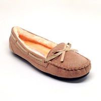 Beige Faux Fur Lined Comfy Loafers