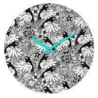 Sharon Turner Hummingbird Heaven Silver Round Clock