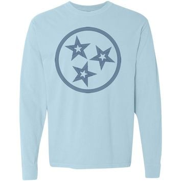 Adult Tri Star Outline on a Long Sleeve Chambray T-Shirt