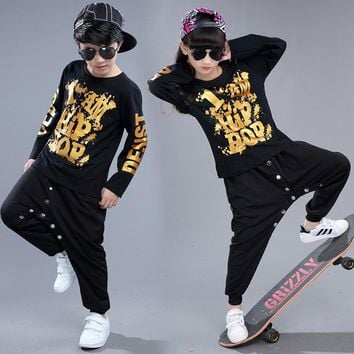 Black Boys Girls Hip Hop Dance Wear For Kids With Gold Print Cotton Brand Top Pant 2 Pieces Children Stage Costumes Plus Size