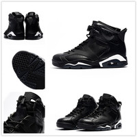 Air Jordan retro 6 black cat infrared low chrome basketball shoes 2017 men VI low cut US size 5.5-12