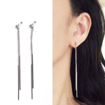 Bar Invisible Clip On Earrings, Dangle Silver Chain Clip On Earrings, Minimalist Clip Earrings, Non Pierced Earrings, Gift for Her