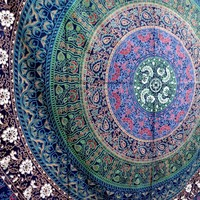 Twin Floral Tapestry Blue Bedspread Mandala Wall Decor Wall Hanging Beach Blanket Hippie Throw