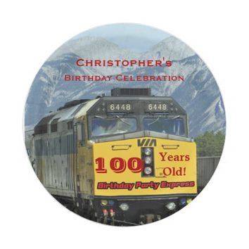 Railroad Train Paper Plates, 100th Birthday Custom Paper Plate