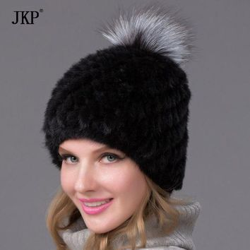 CREYCI7 Hot Genuine Mink Fur Hat Cap Nature Knit Mink Fur Hat Fashion Women Winter Headgear  BZ-05
