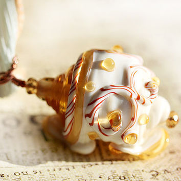 Beige Shell Pendant handmade lampwork glass OOAK by MayaHoney