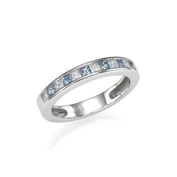 Diamond and Aquamarine Wedding Band 14k White Gold - Aquamarine and diamond ring -  Eternity ring - Blue wedding - light blue - diamond ring