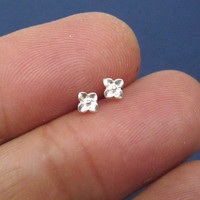 Sterling silver mini four leaf clover ear studs, bridesmaid gift, Valentine gift, mini jewelry, fashion earrings, A cartilage/tragus ring