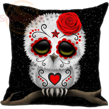 Hot Sale Custom Day of the Dead Sugar Skull Owl Stars Pillowcase 35X35cm (One Sides)Home Cushion Cover Pillow Cases