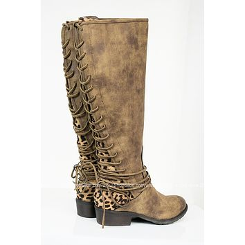 Lace Up Leopard Print Boots