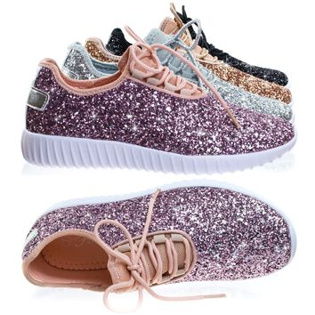 Remy18 Lace up Rock Glitter Fashion Sneaker w Elastic Tongue & White Outsole