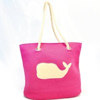 Whale Tote Bag with Rope Handle for Women (Fuchsia)