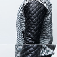Outerwear :: Jackets :: Leather Quilt Sleeve Houndstooth Stadium-Jacket 112 - Mens Fashion Clothing For An Attractive Guy Look