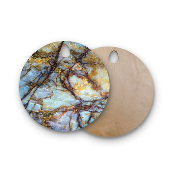 "KESS Original ""Opalized Marble"" Blue Brown Round Wooden Cutting Board"