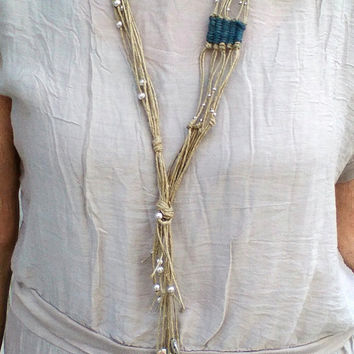 Beaded Long Necklace, Multi Strand Hemp Necklace, Bead Boho Necklace, Fiber Necklace Lariat,  Woven  Red Blue Jute  Silver plated Beads