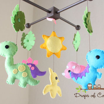 "Baby Crib Mobile - Baby Mobile - Dinosaur Girl Mobile - Nursery Crib Mobile - ""Dino Land / Dinosaurs"" Design"
