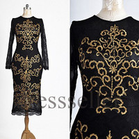 Custom Black Formal Gold Applique Long Sleeves Prom Dresses Fashion Evening Dresses Formal Party Dresses Evening Gowns New Cocktail Dress