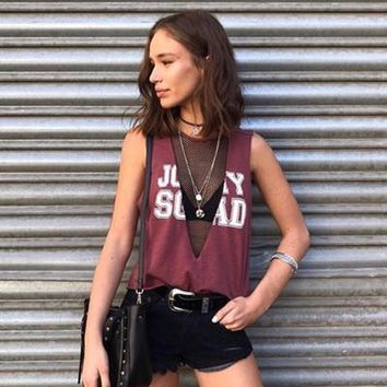 Popular 2017 fashionable lady see-through meshed sexy loose sleeveless V Neck  t-shirt  a13881