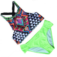 2016 Hot Sale High Neck Low Waist  Print Color Women Sexy Bikini Set Padded  New Design Sports Bathing Suit Bikini Set SJ16031