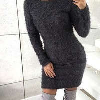 New Dark Grey Draped Round Neck Long Sleeve Casual Mini Dress