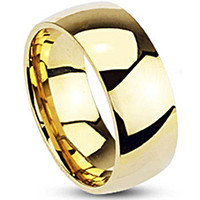 Spikes Mens Gold IP Stainless Steel 8mm Traditional Wedding Band Ring