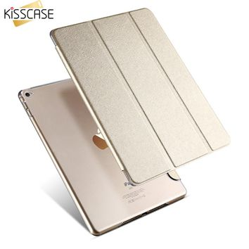 KISSCASE Tablets Case Smart Sleep Wake Transparent Silk Leather Case For ipad 6 Three Fold Stand Support Cover  For iPad Air 2