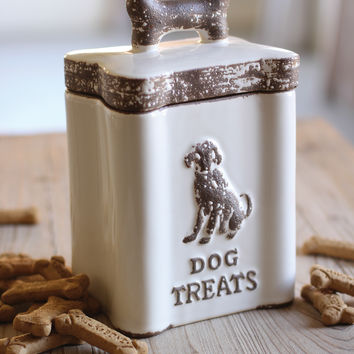 Ceramic Dog Treats Canister- White
