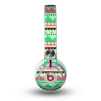 The Lime Green & Coral Tribal Ethic Geometric Pattern copy Skin for the Beats by Dre Mixr Headphones