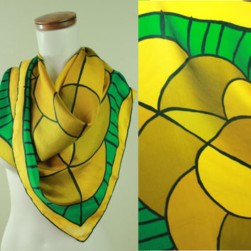 60s/70s - Mod - Vera - Kelly Green & Yellow Gold - Pyschedelic - Op Art - Silk Scarf - Wrap